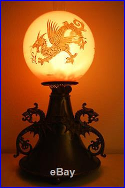 Antique Gwtw Victorian Oil Kerosene Chinese Dragon Parlor Banquet B&h Gwtw Lamp