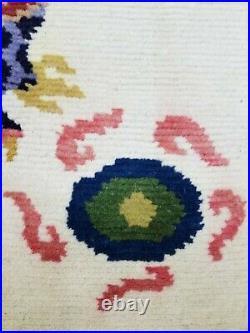 Antique Handmade Chinese Dragon Tibetan Art Deco Wool Meditation Rug 83x63cm