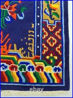 Antique Handmade Chinese Dragon Tibetan Art Deco Wool Oriental Rug Carpet 173x88