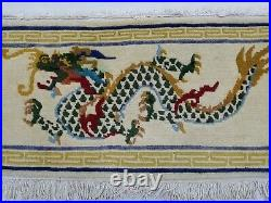 Antique Handmade Chinese Dragon Tibetan Art Deco Wool Rug Carpet 91x44cm