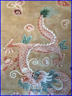 Antique Handmade Style Old Used Dragon Design Chinese Wool Rug, Size6.1 By 3 FT