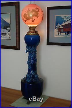 Antique Kerosene Oil Gwtw Chinese Japanese Dragon Awaji Banquet Victorian Lamp