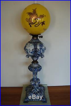 Antique Kerosene Oil Gwtw Delft Majolica Porcelain Chinese Japanese Dragon Lamp