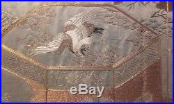 Antique Large 19thc Chinese Silk Embroidery Panel Needlework Qing / Dragons