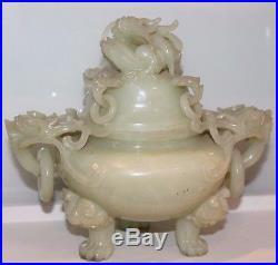 Antique Large Chinese Jade Dragon Incense Burner 8 H