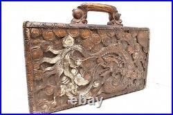 Antique Mahjong Jongg Set Hand Carved Ornate Dragon Box RARE Bakelite Vintage