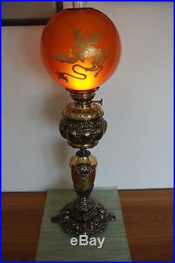 Antique Old Kerosene Oil Banquet Parlor Glass Victorian Gwtw Chinese Dragon Lamp
