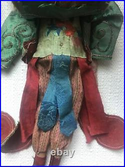Antique Pair of Chinese Wood OPERA DOLLS Qing Dynasty with Dragon Design