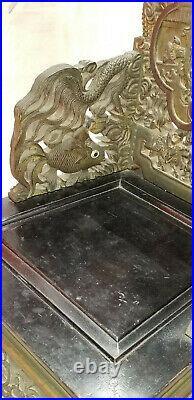 Antique Qing Chinese Hong Mu Carved Wood Garden Scene Dragon Motif Throne Chair