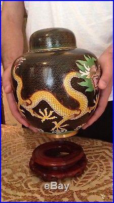 Antique Republic Signed Chinese Cloisonne Vase Urn Leaded Jar Enamel with Dragon
