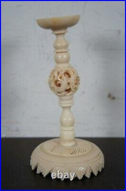 Antique Reticulated Carved 8 Layer Chinese Dragon Puzzle Ball & Stand 11