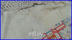 Antique Silk Piano Shawl chinese embroidered de manila rare menton birds dragon