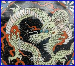 Antique Small Chinese or Japanese Dragon Cloisonne Dish Plate Undertray