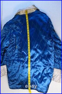 Antique Smoking Jacket Silk Chinese Embroidered Blue And Silver Dragons Medium