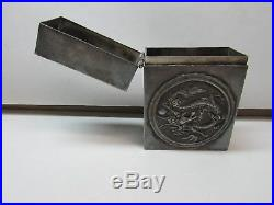 Antique Sterling Chinese Silver Cigarette Case Dragons Box AWESOME COLLECTIBLE