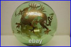 Antique Victorian Gwtw Green Glass Gilt Chinese Japanese Dragon Oil Lamp Shade
