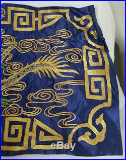 Antique Vintage 20th Century Chinese Gold Silk Embroidery Dragon