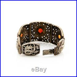 Antique Vintage Art Deco Sterling Silver Plated Chinese Dragon Agate Bracelet