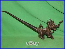 Antique, Vintage, Bronze Asian Chinese Dragon Incense Burner Or Smoking Pipe