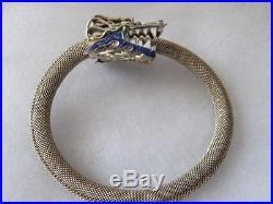 Antique-Vintage Chinese Mesh Silver Enamel Dragon Bracelet