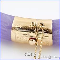Antique Vintage Deco 14k Gold Chinese Carved Lavender Jade Dragon Bracelet