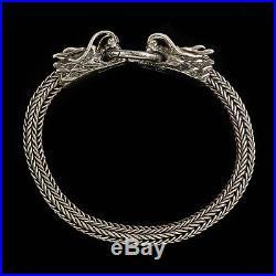 Antique Vintage Deco Sterling Silver Chinese Byzantine Biker Dragon Bracelet
