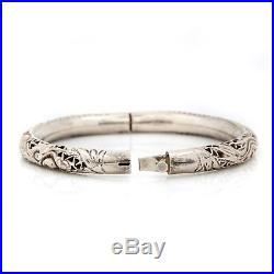Antique Vintage Deco Sterling Silver Chinese Dragon Phoenix Filigree Bracelet