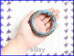 Antique Vintage Deco Sterling Silver Chinese Enamel Dragon Bangle Cuff Bracelet