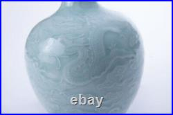 Antique Vintage Original Chinese QING Dynasty bottle vase with dragon relief