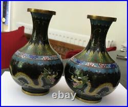 Antique Vintage Pair Chinese 6.5 Multi-coloured Enamel Cloisonne Vases Dragon
