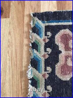 Antique Vintage Tibetan Dragon Khaden Rug Carpet Chinese Art Deco Distressed