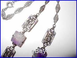 Antique Vtg Chinese Sterling Silver Lavender Jade & Enamel Dragon Link Necklace