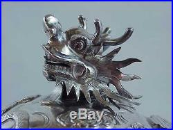 Antique WANG HING Silver Chinese Export Dragon Pearl 1420 Gram 4 Piece Tea Set