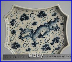 Antique ca 1900 Qing Serving Plate Dragon Porcelain Chinese Qing China Vietnam