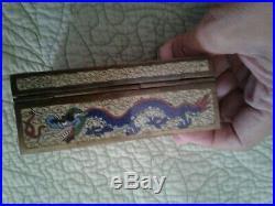 Antique cloisonne chinese dragon smoking set