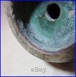 Antique handmade Chinese Qing Dynasty Qianlong green celadon dragon pottery vase