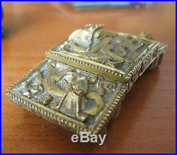 Antique old QING DYNASTY 19th Century CHINESE gilt 2 piece BRONZE Dragon buckle