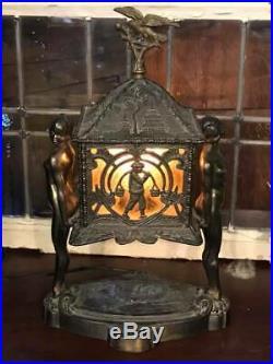 Art Deco Chinese Pagoda, Dragon, Nude Female Table Lamp