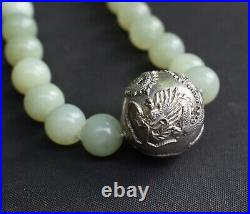 Art Deco Chinese Sterling Silver Dragon Bead Serpentine Celadon Jade Necklace