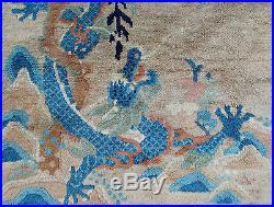 Auth 20's Antique Fetti Chinese Art Deco Rug Dragon & Pagoda Tan 9x12 Beauty NR