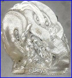 Authentic antique CHINESE HAND CARVED MOTHER OF PEARL SHELL DRAGON 19th century