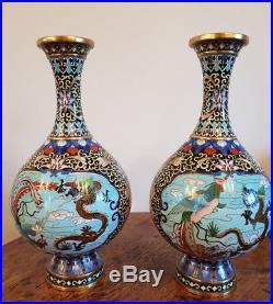 BEAUTIFUL ANTIQUE PAIR CLOISONNE VASES DRAGONS & BIRDS 19th CENTURY QING