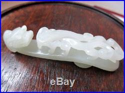 Beautiful Antique Vintage Chinese Carved Celadon Jade Dragon Belt Buckle