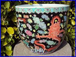 Beautiful Chinese Oriental Porcelain Famille Rose Vase 7 Dragons Decoration
