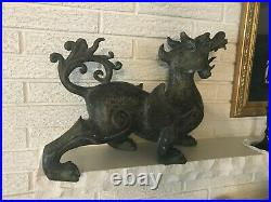 Beautiful LArge Antique Hand Painted Roaring CHINESE Metal DRAGON Figural Statue