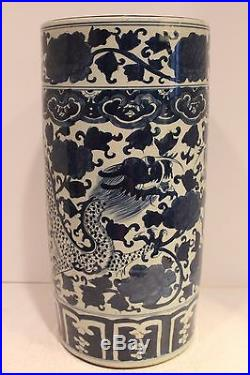 Beautiful Oriental Blue and White Antiqued Porcelain Umbrella Stand Dragon 18