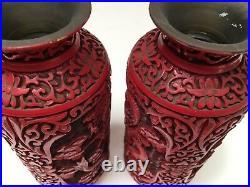 Beautiful PAIR Chinese Republic Period Carved Cinnabar Vase DRAGONS