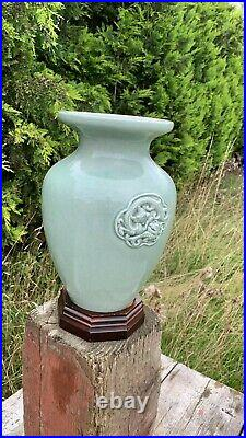 Beautiful Vintage Chinese Oriental Green Dragon Decorative Vase On Wooden Stand