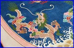 C 1930s ANTIQUE ART DECO CHINESE DRAGON DESIGN RUG 6x9 AMAZING COLOR COMBONATION