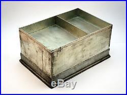 C1900 Large Antique Chinese Kut Hing Swatow Pewter Engraved Dragon Tea Caddy Box